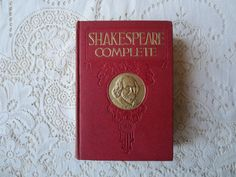 William Shakespeare Book 1920s.  Complete Works of Shakespeare, Victorian Style Book.  Romeo and Juliet, Red Home Decor, Antique Book. Novel