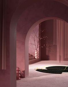 Alex Proba_Roll and Hill_OFFSITE 2018_6 Interior Rendering, Interior Architecture, Interior And Exterior, Minimalist Architecture, Interior Styling, Interior Decorating, Modelos 3d, Home Design, Design Set
