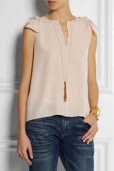I love everything about this outfit. chloé crepe de chine top & necklace.