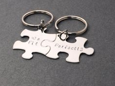 We Fit Perfectly, Couples Keychains, Couples Gift, Puzzle Piece Keychain Set