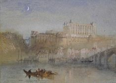Joseph Mallord William Turner 'The Bridge and Château at Amboise', - Watercolour, bodycolour, pen and ink and graphite on paper - Dimensions Support: 134 x 187 mm - © The Ashmolean Museum, Oxford Watercolor Landscape, Landscape Art, Landscape Paintings, Oil Paintings, Watercolour, Landscapes, Joseph Mallord William Turner, Royal Academy Of Arts, Paper Dimensions