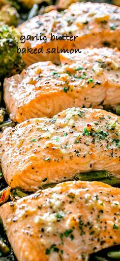 Garlic Butter Baked Salmon - Tender and juicy salmon brushed with an incredible garlic butter sauce and baked on a sheet pan with your favorite veggies. This delicious baked salmon takes just a few minutes of prep and makes for a perfect weeknight meal in just 30 minutes. #salmon #bakedsalmon #garlic #butter #keto #ketorecipes #broccoli #sheetpandinners #onepot #30minutemeal #easydinner #easyrecipe #seafood #salmon via @diethood