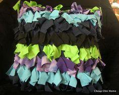 t-shirt fringe pillow to match t-shirt quilt