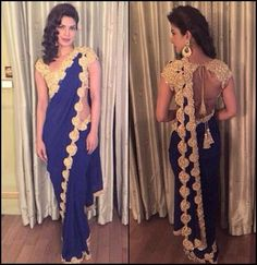 #Chiffon Border Work Plain #Designer #SareeThe border work of this #royal #blue saree was what caught my attention in the first place. The golden border complemented the #blue chiffon saree extremely well and the golden blouse just completes the entire look.
