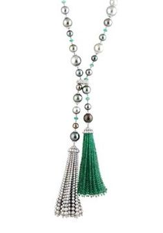 Show details for 18k White Gold Pearl Diamond and Emerald Tassel Lariat