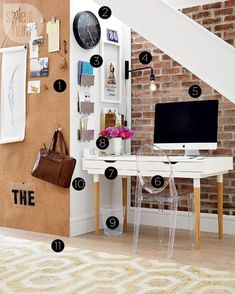 High/low: Cozy home office nook - Style At Home Cozy Home Office, Office Nook, Home Office Decor, Office Table, Diy Projects Apartment, Ikea Storage, Storage Hacks, Shabby Chic Bedrooms, Home Office Furniture
