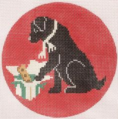 "CBK Needlepoint Designs, # LM-XO17 Christmas Morning Black Lab, 18 mesh, 4.5"" Round"