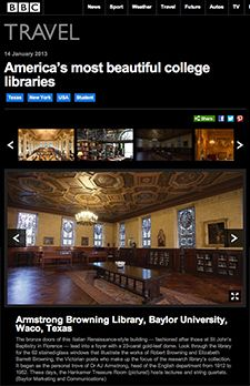 Deserving! BBC names #Baylor University's Armstrong Browning Library among America's 5 most beautiful college libraries.