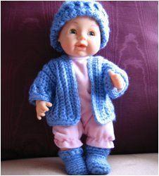 quick easy doll or teddy bear sweater. #Free Pattern; crochet; doll set ~~