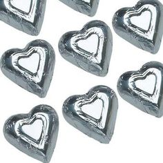 Silver Chocolate Wrapped Hearts