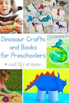 Looking for easy dinosaur crafts for preschoolers? Need some dinosaur books? Here is an extensive list of dinosaur crafts, dinosaur books, and dinosaur printables for preschool and kindergarten children. Preschool Books, Preschool Learning Activities, Toddler Preschool, Toddler Activities, Preschool Activities, Toddler Crafts, Outdoor Activities, Montessori Science, Vocabulary Activities