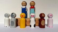 Farmers and Farm Animal Peg Doll Set Miniature World Play