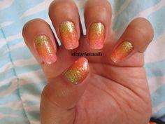 Nail art. Glitter gradient nails.