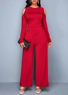 ee41dc383eb Cold Shoulder Pocket Red Keyhole Back Jumpsuit Cute Party Outfits