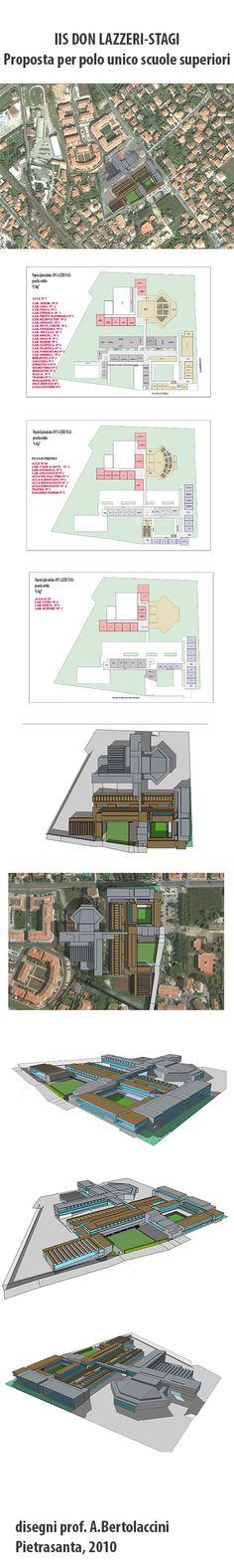 Proposta per polo unico delle scuole superiori di Pietrasanta. Disegni: prof. A.Bertolaccini, 2010.