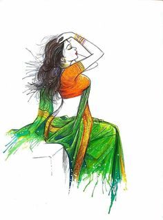 Indian Women Painting, Indian Art Paintings, Sexy Painting, Painting & Drawing, Woman Painting, Indian Illustration, Illustration Artists, Pencil Drawings Of Girls, Art Drawings