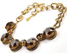 Christian-Dior-Henkel-Grosse-Gold-Chain-Loops-Topaz-Choker-Necklace
