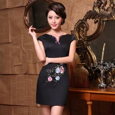 Only The Best Embroidery Designs Evening Dresses With Sleeves, Formal Evening Dresses, Elegant Dresses, Vintage Dresses, Tao, Cheongsam Modern, Cheongsam Dress, Embroidery Dress, Special Occasion Dresses