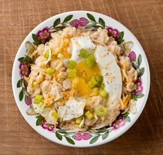 Savory oatmeal with cheese and egg. Good for breakfast, lunch AND dinner!