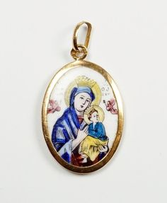 Vintage Antique Gold Porcelain Our Lady of Perpetual Help Medal Pendant Charm #Medal #Christianity #Antiques #ReligiousMedal #Porcelain #cherryorchardattic