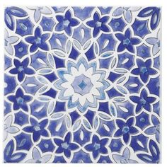 Colours Single Blue Fleur Décor Wall Tile (L)200 x (W)200mm, 5397007011005 - Maybe throw some of these in?