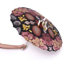 Eleke garden parasol - (handmade wooden parasol with digital custom art on 100% silk shade)