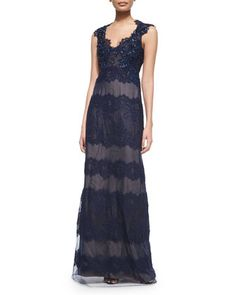 Cap-Sleeve Lace Keyhole-Back Gown  by Marchesa Notte at Bergdorf Goodman.