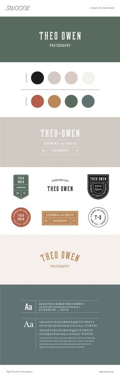 Friendly, and always up for adventure, Theo Owen is the perfect match for travel elopement photographers featuring patch inspired brand marks, classic typography, and earthy color palette Business Logo Design, Brand Identity Design, Brand Design, Web Design, Brand Guide, Brand Style Guide, Brand Manual, Earthy Color Palette, Graphic Design Inspiration