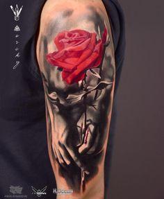 Home - Tattoo Spirit Rose Flower Tattoos, Rose Tattoos For Men, Beautiful Flower Tattoos, Cool Arm Tattoos, Body Art Tattoos, Tattoos For Guys, Lion Tattoo Sleeves, Arm Sleeve Tattoos, Sleeve Tattoos For Women
