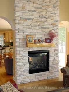 Stone Fireplace Diy fireplace with tv moldings.Old Fireplace Repurpose old fireplace repurpose.Fireplace Christmas How To Make. Rustic Fireplace Mantle, Painted Fireplace Mantels, Fireplace Lighting, Candles In Fireplace, Fireplace Garden, Paint Fireplace, Brick Fireplace Makeover, Fireplace Cover, Shiplap Fireplace