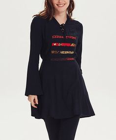 This Black Stripe Tie-Accent Chati Tunic is perfect! #zulilyfinds