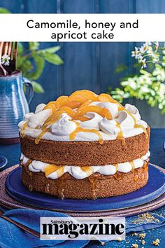 This delicious camomile, honey and apricot cake recipe is wonderful for afternoon tea. It would also make a spectacular birthday cake recipe. Get the Sainsbury's magazine recipe Baking Recipes, Cake Recipes, Apricot Cake, Summer Cakes, Cake Servings, Cookies Ingredients, Cake Tins, Strawberries And Cream, So Little Time
