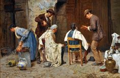 Pio Joris (Italian, 1843-1921), 'I barbieri di Roma'