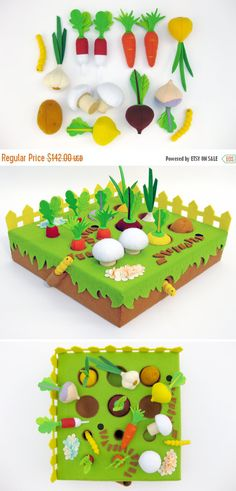 Pretend play Felt Garden with 12 vegetables and 2 worms, for your little gardeners.  Would you like to have a gardener in your family? Buy this set of toys – and your child will be happy :)  Attention!!! If you buy now the Felt Garden - you will save 30% (discount is valid until July 15, or for the first three buyers). For 100 USD you can buy as many as 15 unique handmade items!  ————————————————————————  Holes cut into the foam allow the veggies to hide in the soil. All items are hand…