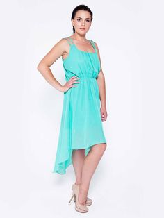 Aqua Blue Chiffon Dress-Beautiful dress plus size,blue ,comfort and easy . Dress place for your special day!Have a party, dinner party ,family dinner ,engagement -is the dress will be a hit.
