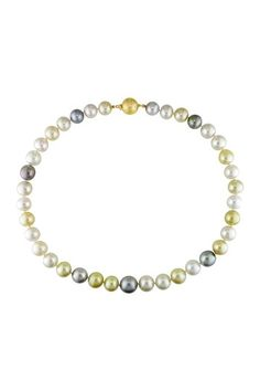 14K Yellow Gold 10-12mm Graduated White & Yellow South Sea Pearl & Black Tahitian Pearl Necklace