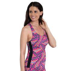 Women's Dolfin Striped Racerback Tankini Top, Size: Medium, Kaleidoscope Pink