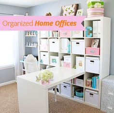 If you're lucky enough to have a home office you know how important it is to keep it organized. An organized home office makes life a lot easier. I don't know about you, but I find that I'm more productive when my office is neat, clean, and everything is in its place. So I gathered up some home offices that boast some great organization.   I'm a little biased toward this home office because it's my own. I love, I repeat, love my Ikea Expedit workstation. It makes great use of the vertical…