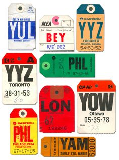 vintage luggage tags courtesy of Jonathan/ Graphic Definer