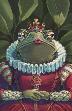 Toad Queen reproduction print - princess fairy tale frog fantasy royalty portrait -art p Portrait Art, Pet Portraits, Frog Art, Character Design Inspiration, Toad, Aesthetic Art, Cute Art, Art Inspo, Fantasy Art