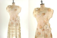 20s Sheer Party Floral Flapper Dress Ivory Flower