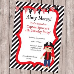 Birthday Party Invitation, Pirate Invitation, Pirate Birthday Party, Printable Invitation, Personalized Invitation by CarouselPrintables on Etsy https://www.etsy.com/listing/164157573/birthday-party-invitation-pirate