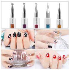 3.67$  Know more  - BQAN 5Pcs/Set 2 Way Nail Art Dotting Painting Pen Double-ended Dotting Tips Nail Art Drawing Pen Nail Decoration Nail Art Tool Set