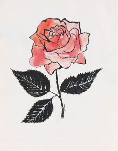 'Untitled' (Pink Rose) by Andy Warhol, c. 1955. India ink, water-colour and…