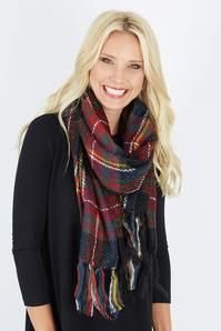 Thick Stitch Plaid Scarf