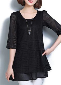 Black Round Neck Half Sleeve Layered Blouse on sale only US$28.74 now, buy cheap Black Round Neck Half Sleeve Layered Blouse at liligal.com