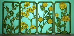 Plastic yellow flower wall plaques. 60s or 70s. Possibly Syroco.