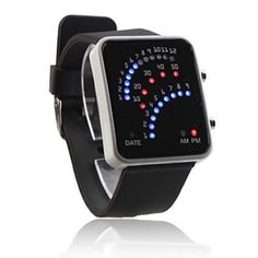 Baolihao 29 LED Silicone Black Band Wrist Watch WTH0340