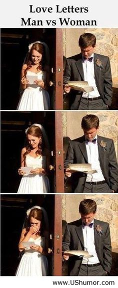 Give your future spouse a love letter right before the wedding and read them at the same time (but no peeking!)