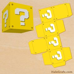 question block treat box FREE Printable Super Mario Bros. Question Block Treat Box                                                                                                                                                     Mais
